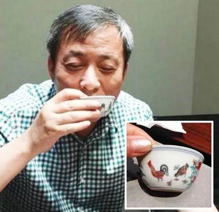 刘益谦用鸡缸杯喝茶